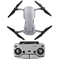 Hobby Signal Waterproof PVC Carbon Grain Stickers Carbon Graphic Skin Full Set Drone Body Battery Remote Controller Decals for DJI (Silver)