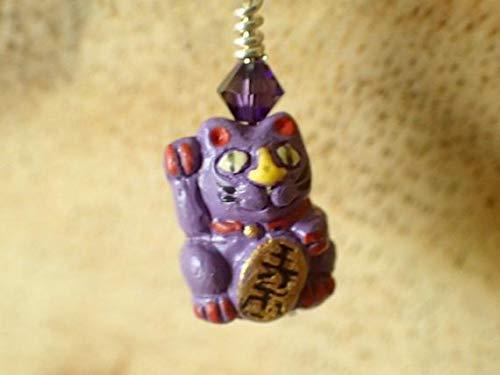 MOCKE Purple Neko Cat Amethyst Earrings