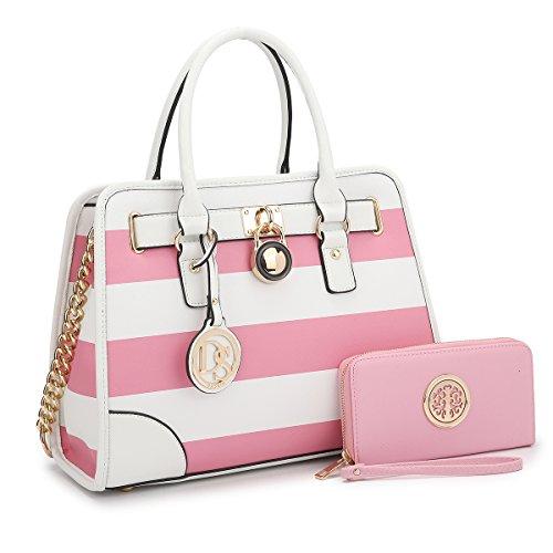 MKY Padlock Stripe Medium Satchel Handbag Designer Purse Multicolor Pink/White w/ Matching Wallet Chain Shoulder (Multi Color Purse Handbag)