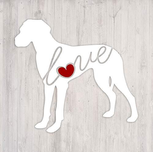 - Great Dane (Undocked Ears) Love - Car Window Vinyl Decal Sticker (Script Font)