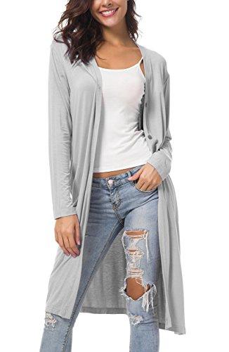 Urban CoCo Women's Casual Split Button Open Front Long Cardigan Pockets (S, Light Grey) ()