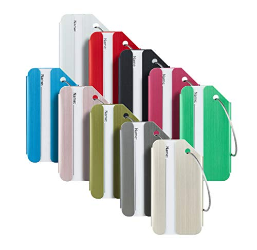 Durable Luggage Bag Tag - Travelambo Luggage Tags & Bag Tags Stainless Steel Aluminum Various Colors (mixed colors 10 pcs set)