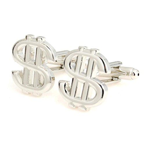 The Smart Man Men's Silver Simple Dollar Sign Cufflinks