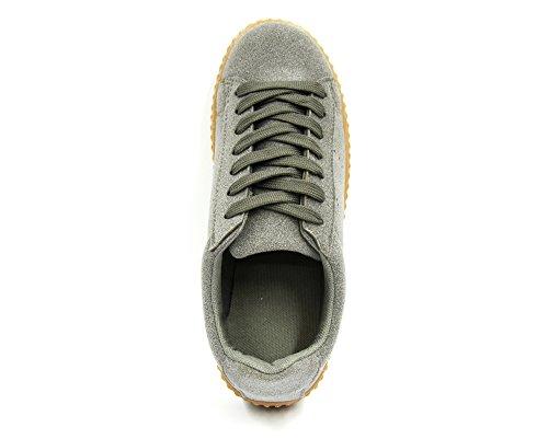 SHY35 * Baskets Basses Tennis Sneakers Tissu Effet Daim Uni avec Semelle Plateforme Compensée - Mode Femme (Gris)