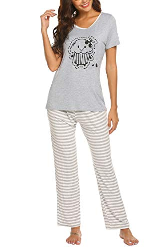 Hotouch Women Striped 2 Piece Pajamas Set Sleepwear Sleeping Sets
