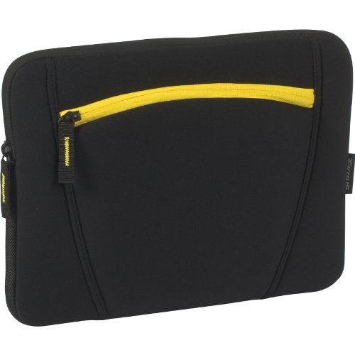 Targus Neoprene Slipskin Peel Netbook Slip Case with Accessory Pocket Designed to Protect up to 12-Inch Widescreen Netbooks TSS125US (Black with Yellow)