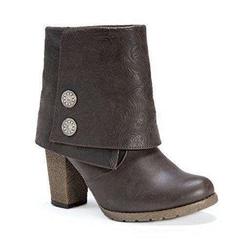 Muk LUKS Women's Chris Boot Ankle Bootie Dark Brown