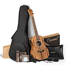 Caramel CB207 Acacia Baritone Acoustic Electric Ukulele with Truss Rod with Additional Strings, Padded Gig Bag, Strap…