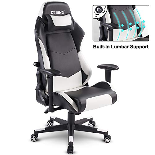 DESINO Gaming Chair Racing Style High Back Computer Chair Swivel Ergonomic Executive Office Leather Chair Video Game Desk Chair with Adjustable Armrests and Lambar Support for Adults Kids(White)