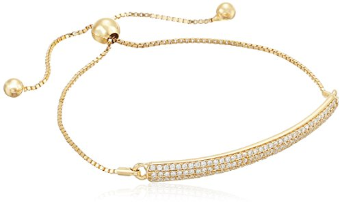 925 Sterling Silver Yellow Gold Plate Pave AAA Cubic Zirconia Adjustable Slider Bracelet (.93 (Yellow Gold Cubic Zirconia Bracelet)
