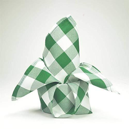 Efavormart 15x15 Green/White Checkered Wholesale Gingham Polyester Linen Picnic Restaurant Dinner Napkins - 5 PCS