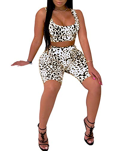 - Women's 2 Piece Shorts Outfits Sexy Crop Tank Tops Snakeskin Leopard Print Polka Dot Two Piece Tracksuits