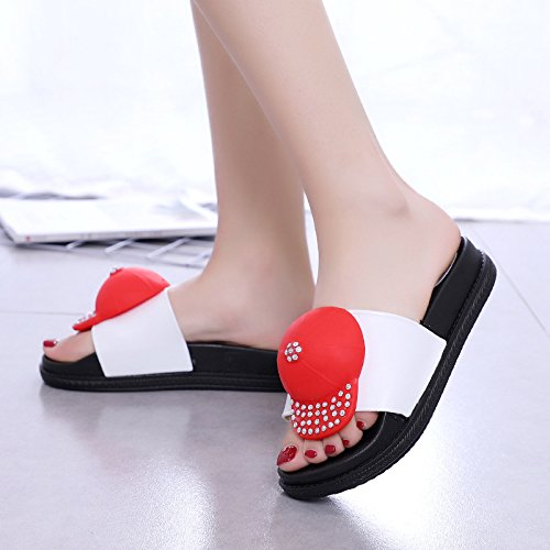 De WHLShoes Plana Sandalias Flop y Flip Verano Calle para Hembra Casual Personalidad Abierto mujer chanclas Silvestre Chanclas white Zapato vvrR4nfq
