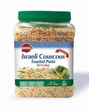 Israeli Toasted Pasta (Baron's Kosher Israeli Tri-color Couscous Toasted Pasta 21.16-ounce Jars (Pack of 4))