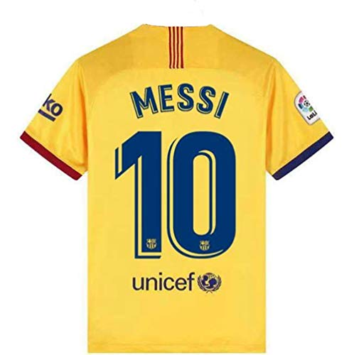 Basalna Barcelona 10 Messi 2019/2020 Season Away Men's Soccer Jersey Color Yellow Size L (Barcelona Away Jersey)