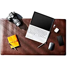 """Desk Mat Protector, 36"""" x 20"""", PU Leather Desk Pad Blotter, Mouse Pad Accessories with Comfortable Writing Surface, (Dark Brown)"""