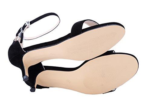 CAMSSOO Women's Open Toe Low Heel Ankle Strap Buckle Pumps Sandals VE-Black gldkJ7ZHl