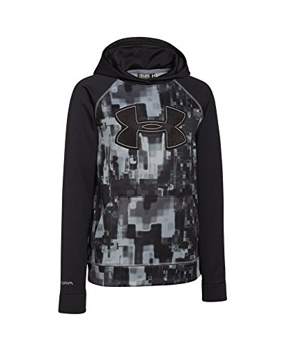 Under Armour Boys' Storm Armour Fleece Printed Big Logo Hoodie, Black/Graphite, Youth Small