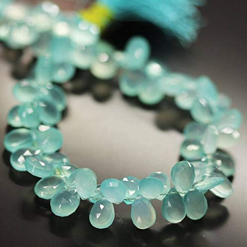 Beads Bazar Natural Beautiful jewellery AAA Aqua Blue Chalcedony Faceted Pear Drop Gemstone Craft Loose Beads Strand 9