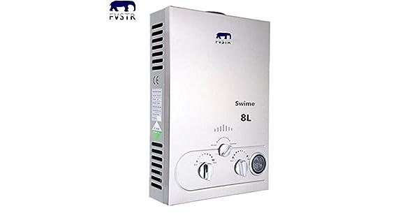 TryESeller 8L Calentador de agua sin tanque 8L Pantalla digital 1.5 GPM NG Caldera de agua instant/ánea Quemador de agua caliente de gas natural de acero inoxidable