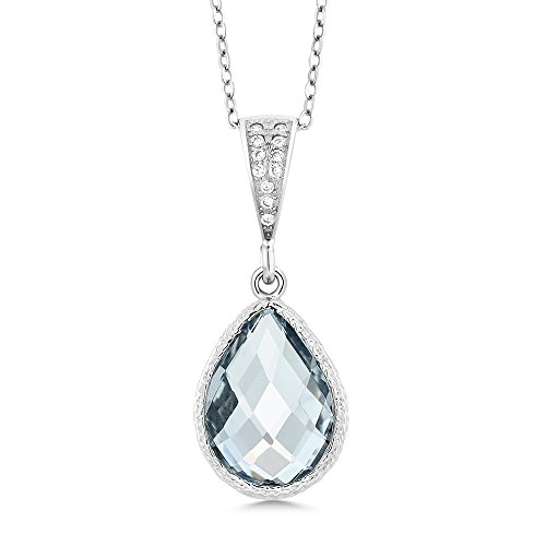 - Gem Stone King 925 Sterling Silver Checkerboard Simulated Aquamarine Pendant Necklace 6.20 Cttw Pear Shaped 16X12MM with 18 Inch Silver Chain