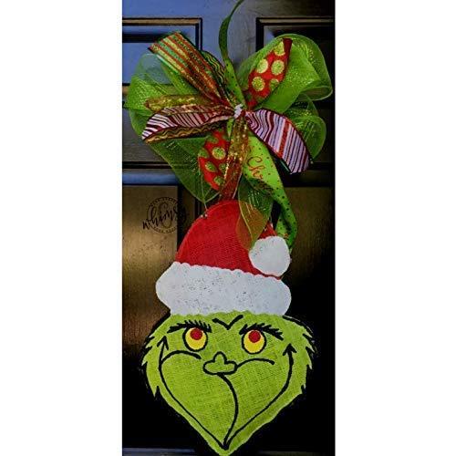 - Hand Painted Christmas Grinch Burlap Door Hanger- Grinch Burlap Door Hanger-Christmas Door Hanger- Door Hanger