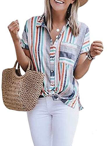 Biucly Women's Stylish Striped Cuffed Sleeve V Neck Button Down Casual Collar Blouses Shirts Tops Multicoloured M