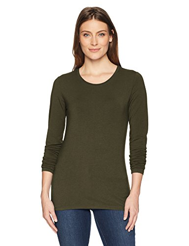 Amazon Essentials Women's Classic-Fit Long-Sleeve T-Shirt, Olive, Large (Sleeve Long Tee Womans T-shirt)
