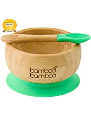 Baby Suction Bowls and Matching Spoon Set, Suction Stay Put Feeding Bowl, Natural Bamboo (Green)