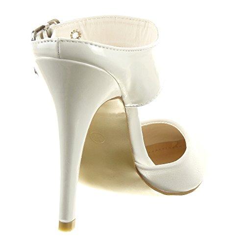 Sopily - Zapatillas de Moda Tacón escarpín Stiletto Abierto Tobillo mujer Sexy tanga Talón Tacón de aguja alto 11 CM - Blanco
