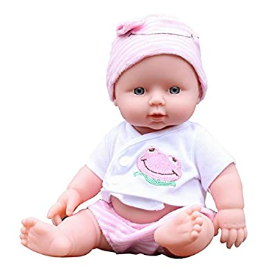 Ovovo Reborn Newborn Baby Doll Soft Vinyl Silicone Lifelike Sound Laugh Cry reborn baby doll for Boys Girls Gift - 12 inches(pink)