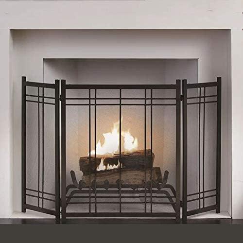 暖炉スクリーン 3-パネル幾何暖炉スクリーン、火災スパークガードのために赤ちゃんの安全、スパークガードとウッドバーニング - 錬鉄の装飾メッシュ