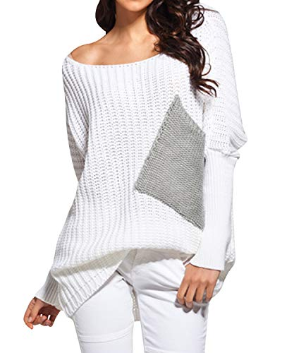 (BBYES Women's Cute Boat Neck Loose Long Sleeve Color Block Knitted Sweaters Pullover Tops White L)