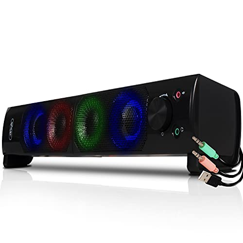 Caixa Caixinha Som Gamer led Rgb Para Pc Computador Note P2 Usb Soundbar Gamer