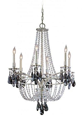 Corbett Lighting 133-06 La Scala - Six Light Chandelier, Silver Leaf Finish with Clear/Smoke Crystal, 29