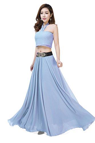 Women Summer Chiffon High Waist Pleated Big Hem Full/Ankle Length Beach Maxi Skirt(4XL /Azure)