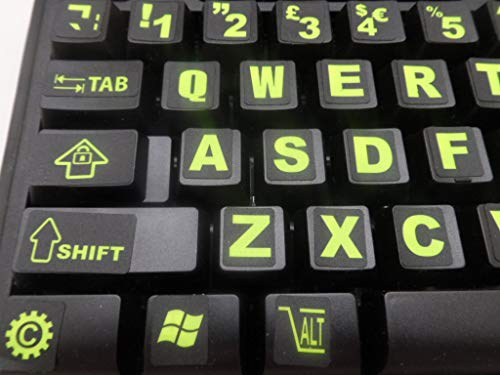 English US Keyboard Fluorescent Sticker Large Black Letters for Computer Laptop