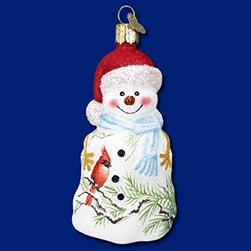 Old World Christmas Glistening Cardinal Snowman Glass Ornament 24095