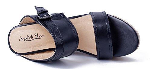 AgeeMi Shoes Damen Rund Offener Zehe High Heel Keilabsatz Plateau Sandaletten Schwarz