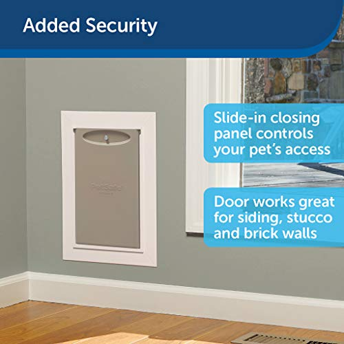 PetSafe Wall Entry Pet Doors with Telescoping Tunnel – Small, Medium, Large – White – Easy to Install – Cat and Dog Door…