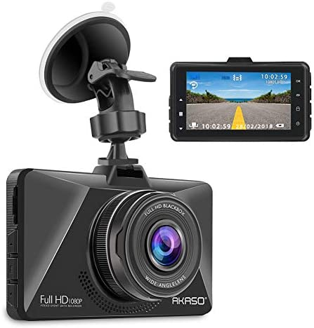 AKASO Dash Cam Car Dashboard Camera Recorder with 1080P Full HD 3 LCD Screen 170 Wide Angle Lens Loop Recording Night Vision C200
