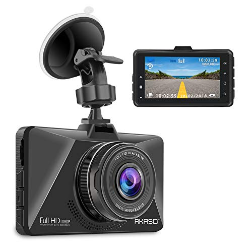 AKASO Dash Cam Car Dashboard Camera Recorder with 1080P Full HD 3 LCD Screen 170 Wide Angle Lens