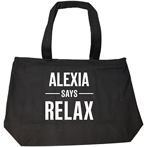 Alexia Says Relax Personalised Gift For Name - Tote Bag With Zip