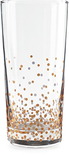 Gold Juice Glass - Circleware 76825 Confetti Heavy Base Highball Drinking Glasses Tumblers, Set of 4 Kitchen Entertainment Ice Tea Beverage Cups Glassware for Water, Juice, Beer and Bar Liquor Decor Gift, 14.5 oz, Gold