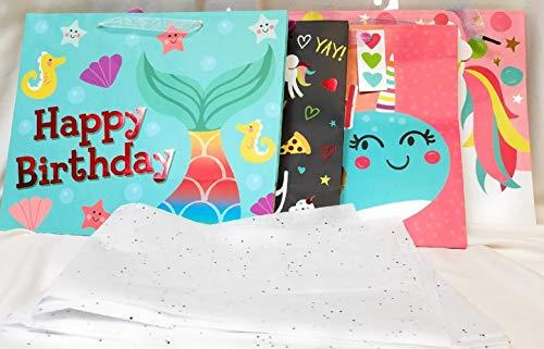 Unicorn Mermaid Birthday Gift Bag Bundle with Sparkly Tissue (14 Items)