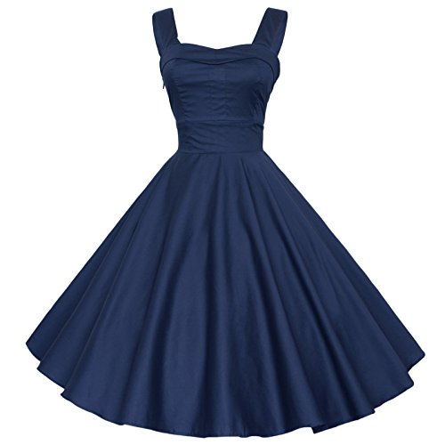 Dress Maggie Swing Rockabilly 50 Women's Tang Vintage NAVYBLUE Gown Cocktail 60S Ball vrYwvqR