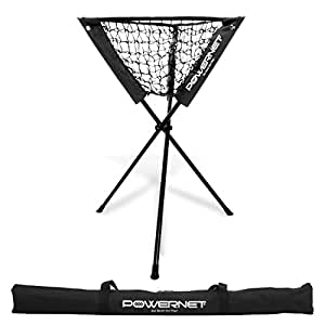 PowerNet Baseball Softball Portable Batting Practice Ball Caddy (Black) | Use During Training and Drills | Save Your Back No More Bending | Holds up to 60 Baseballs | Instant Setup | Team Colors