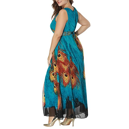 maxi coda Abito A blu da abito stampato 44 formato grande 58 sera verde pavone Rockabilly donna da Line UCxqfvw