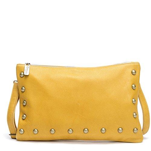 Mustard Yellow Italian Cowhide leather Crossbody Clutch by Brynn Capella Handbags