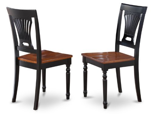 (East West Furniture PVC-BLK-W Kitchen/Dining Chair Set with Wood Seat, Black/Cherry Finish, Set of 2)